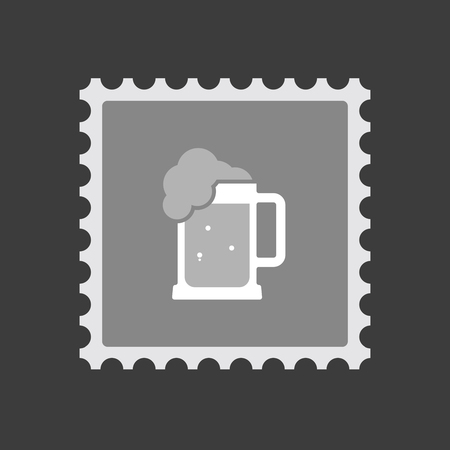 tarro cerveza: Illustration of an isolated mail stamp icon with  a beer jar icon Vectores