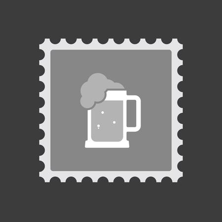 beer jar: Ilustración de un icono de sello de correo aislado con un icono de jarra de cerveza Vectores