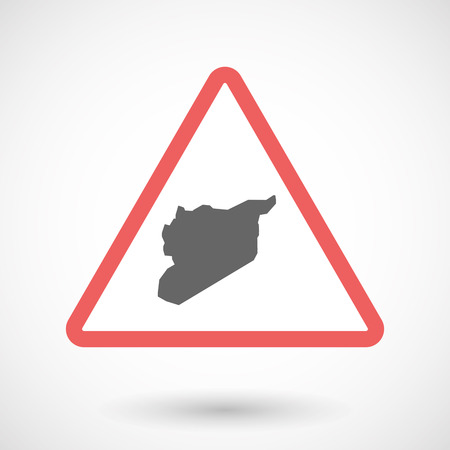 Illustration of an isolated warning line art icon with  the map of Syria