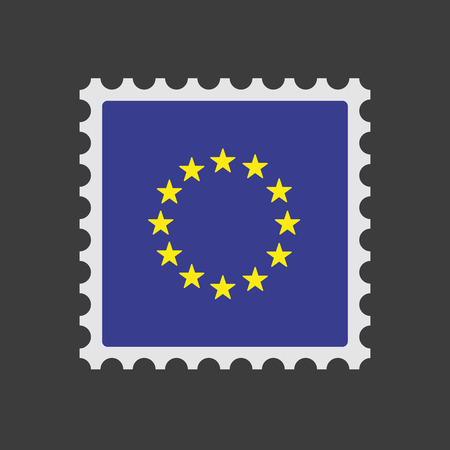 Illustration of an isolated mail stamp icon with  the EU flag stars