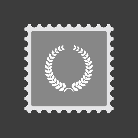 Illustration of an isolated mail stamp icon with  a laurel crown sign Illustration