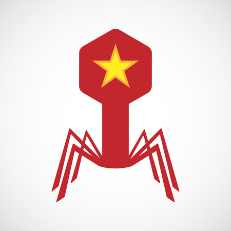 red star: Illustration of an isolated virus icon with  the red star of communism icon
