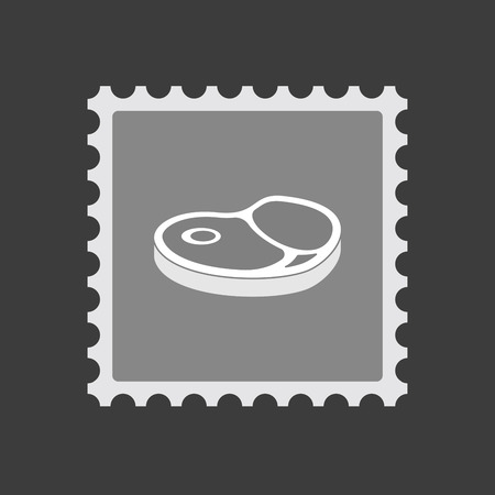 Illustration of an isolated mail stamp icon with  a steak icon