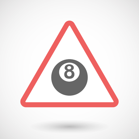billiard ball: Illustration of an isolated warning line art icon with  a pool ball