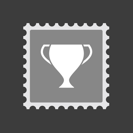 Illustration of an isolated mail stamp icon with  an award cup