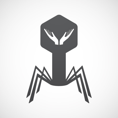 Illustration of an isolated virus icon with  two hands offering