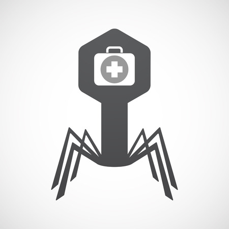 Illustration of an isolated virus icon with  a first aid kit icon