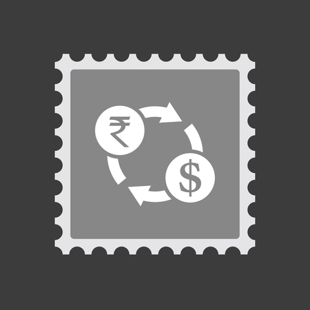 Illustration of an isolated mail stamp icon with  a rupee and dollar exchange sign