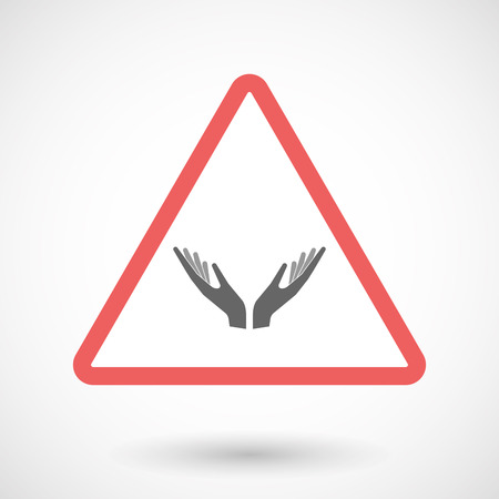 Illustration of an isolated warning line art icon with  two hands offering