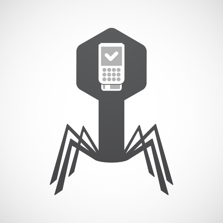 Illustration of an isolated virus icon with  a dataphone icon