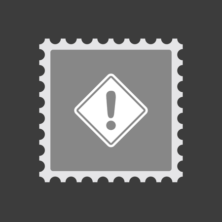 Illustration of an isolated mail stamp icon with   a warning road sign Illustration