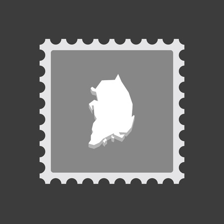 Illustration of an isolated mail stamp icon with  the map of South Korea