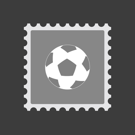 Illustration of an isolated mail stamp icon with  a soccer ball