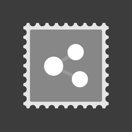 Illustration of an isolated mail stamp icon with  a network sign Illustration