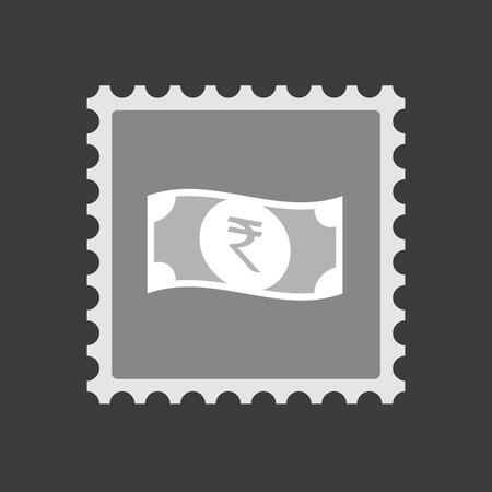 bank note: Illustration of an isolated mail stamp icon with  a rupee bank note icon