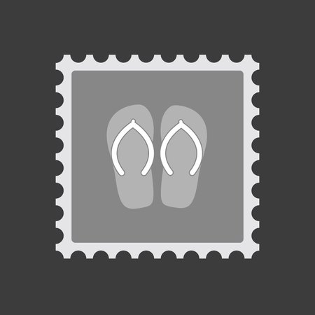 Illustration of an isolated mail stamp icon with   a pair of flops
