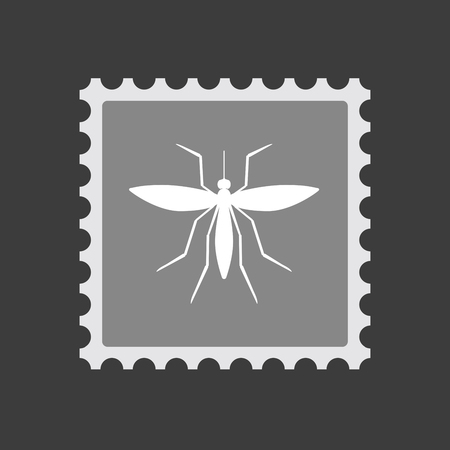 Illustration of an isolated mail stamp icon with  a mosquito