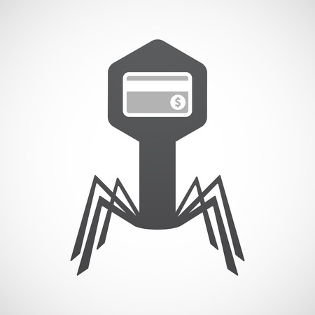 Illustration of an isolated virus icon with  a credit card Illustration