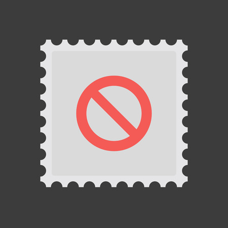 Illustration of an isolated mail stamp icon with  a forbidden sign
