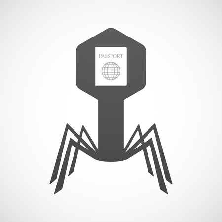Illustration of an isolated virus icon with  a passport