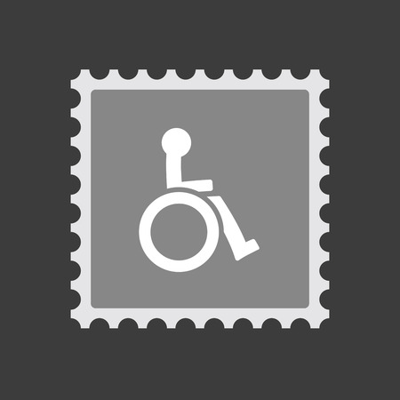 Illustration of an isolated mail stamp icon with  a human figure in a wheelchair icon