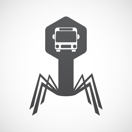 Illustration of an isolated virus icon with  a bus icon