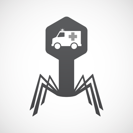 Illustration of an isolated virus icon with  an ambulance icon