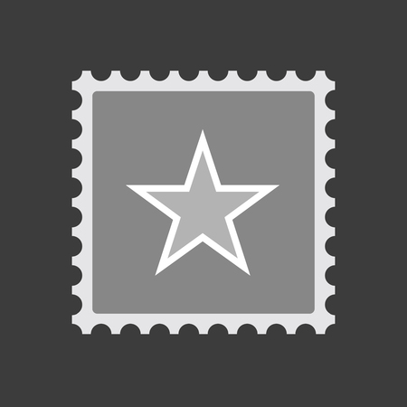 Illustration of an isolated mail stamp icon with  the red star of communism icon