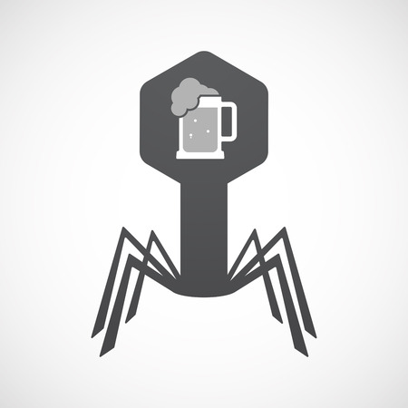 tarro cerveza: Illustration of an isolated virus icon with  a beer jar icon Vectores