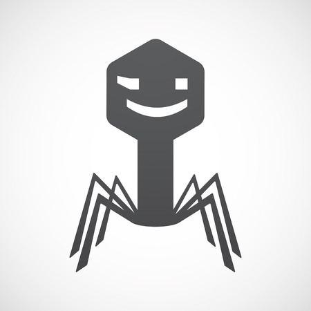wink: Illustration of an isolated virus icon with  a wink text face emoticon