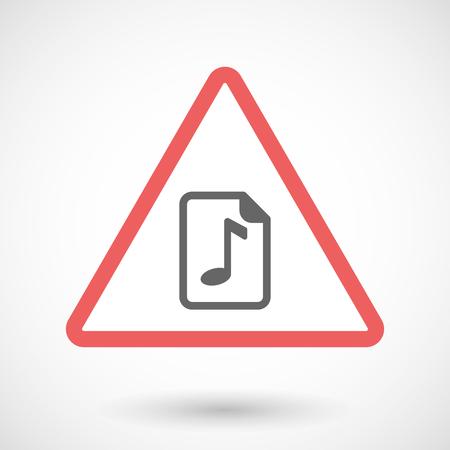 partition musique: Illustration d'une ligne d'icône d'avertissement de l'art isolé avec une icône de partition