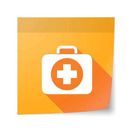 case sheet: Illustration of an isolated sticky note with  a first aid kit icon