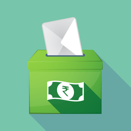 bank note: Illustration of a long shadow ballot box with  a rupee bank note icon Illustration