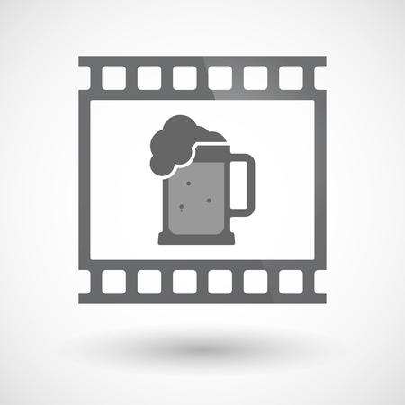 tarro cerveza: Ilustración de un fotograma de diapositivas fotograma de la película de 35 mm aislado con un icono de jarra de cerveza