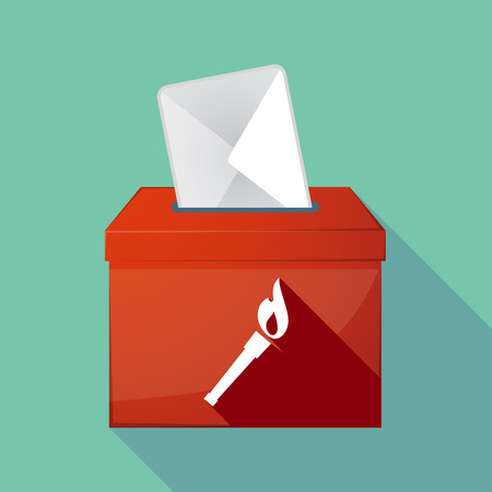 elect: Illustration of a long shadow ballot box with  a torch icon Illustration