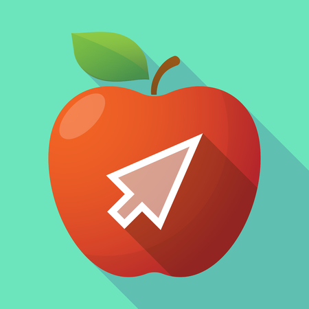 Illustration of a long shadow healthy fresh food red apple fruit icon with a cursor Illustration