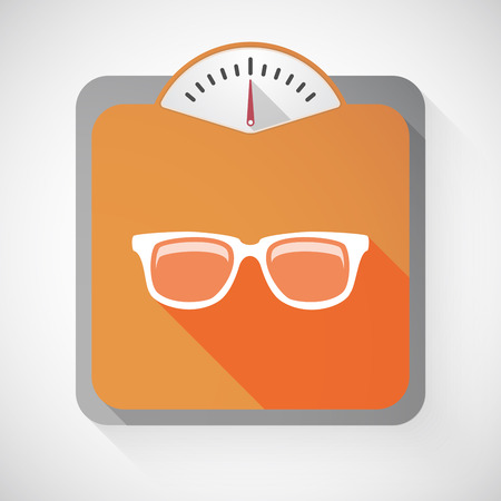vision loss: Illustration of a long shadow weight scale with a glasses Illustration