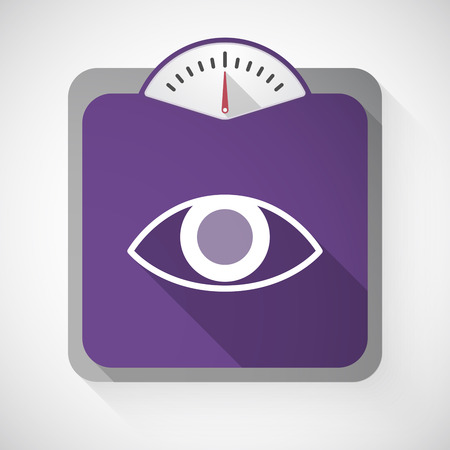 vision loss: Illustration of a long shadow weight scale with an eye Illustration