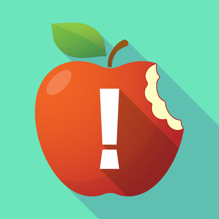 Illustration of a long shadow healthy fresh food red apple fruit icon with an admiration sign