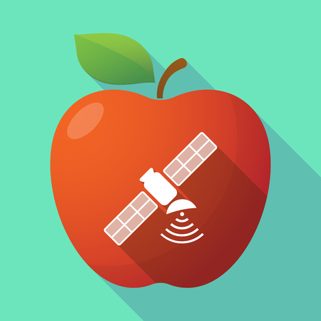 space antenna: Illustration of a long shadow healthy fresh food red apple fruit icon with a satellite