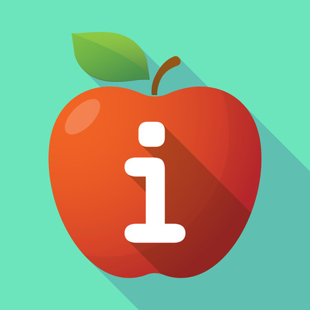 Illustration of a long shadow healthy fresh food red apple fruit icon with an info sign