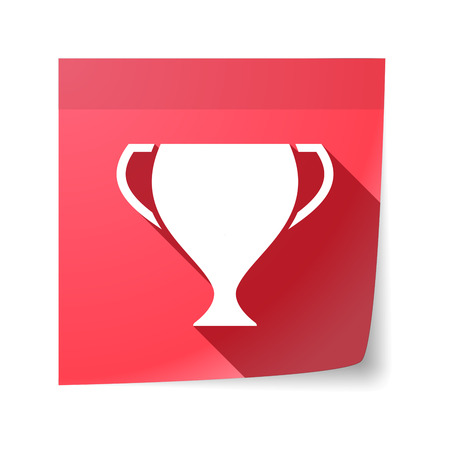 sticky note: Illustration of an isolated sticky note with  an award cup Illustration