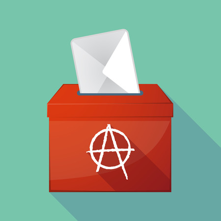 anarchy: Illustration of a long shadow democratic election ballot box with an anarchy sign