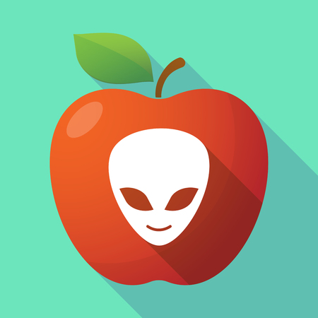 alien face: Illustration of a long shadow healthy fresh food red apple fruit icon with an alien face