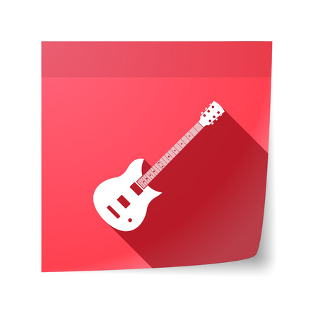 sticky note: Illustration of an isolated sticky note with  an electric guitar