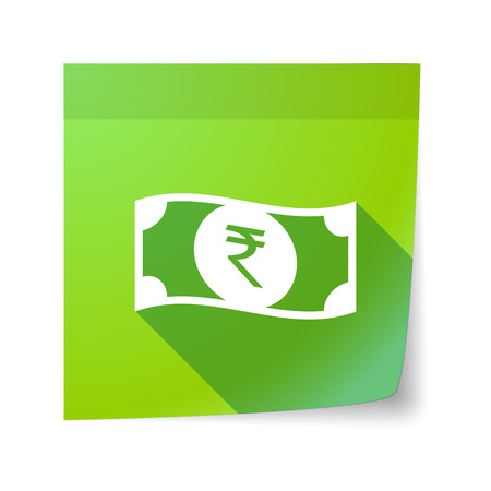 bank note: Illustration of an isolated sticky note with  a rupee bank note icon Illustration
