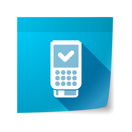 sticky note: Illustration of an isolated sticky note with  a dataphone icon
