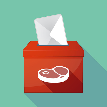Illustration of a long shadow ballot box with  a steak icon Ilustrace