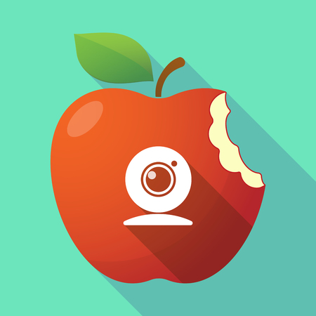 Illustration of a long shadow healthy fresh food red apple fruit icon with a web cam Illustration