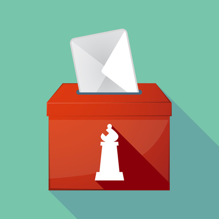 elect: Illustration of a long shadow ballot box with a bishop    chess figure